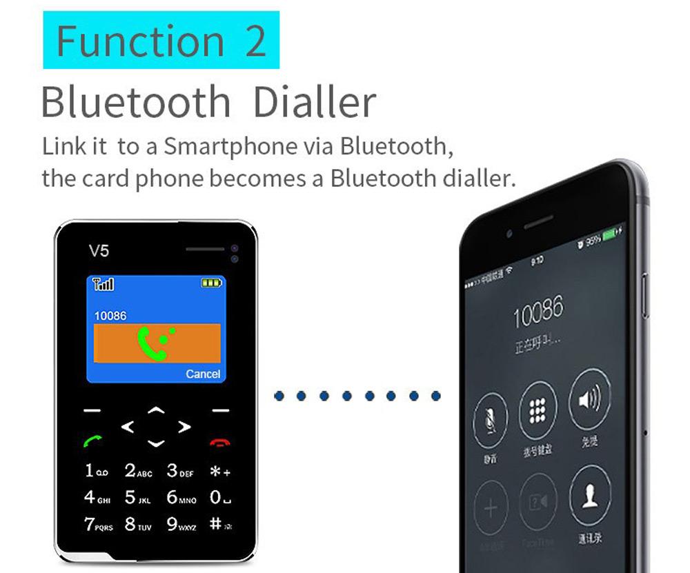 AIEK V5 Ultra-thin 1.8 inch Quad Band Card Phone Bluetooth 3.0 FM Audio Player ( Built-in 8GB TF Card )