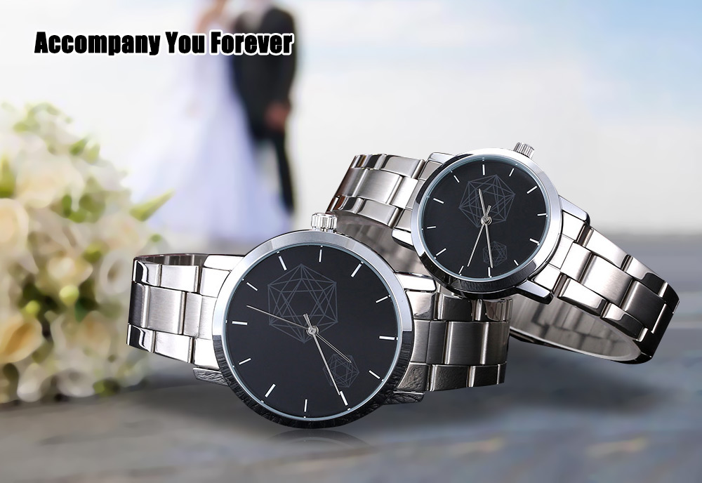Skone 7354 Couple Quartz Watch Casual Water Resistance Stainless Steel Band Wristwatch