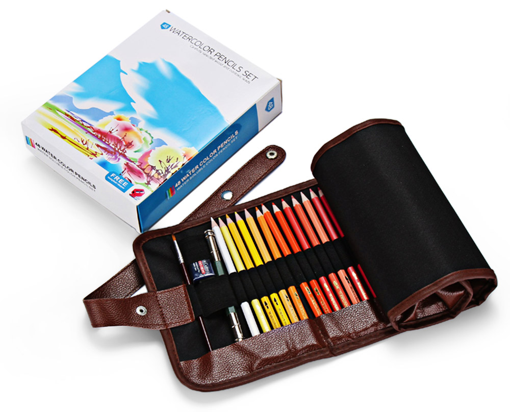48 Color Wooden Craft Water Soluble Drawing Pencil Sharpener Writing Brush 3-in-1 Kit