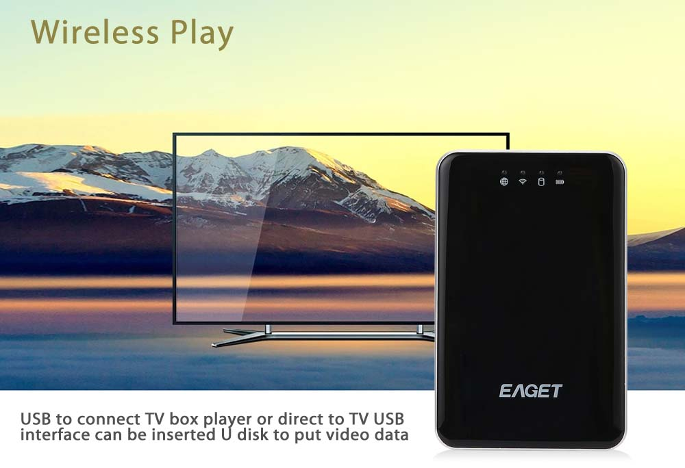 EAGET A86 1TB HDD USB Wireless WiFi Hard Disk Drive Electronics Storage Device 3G Router Mobile Power Bank