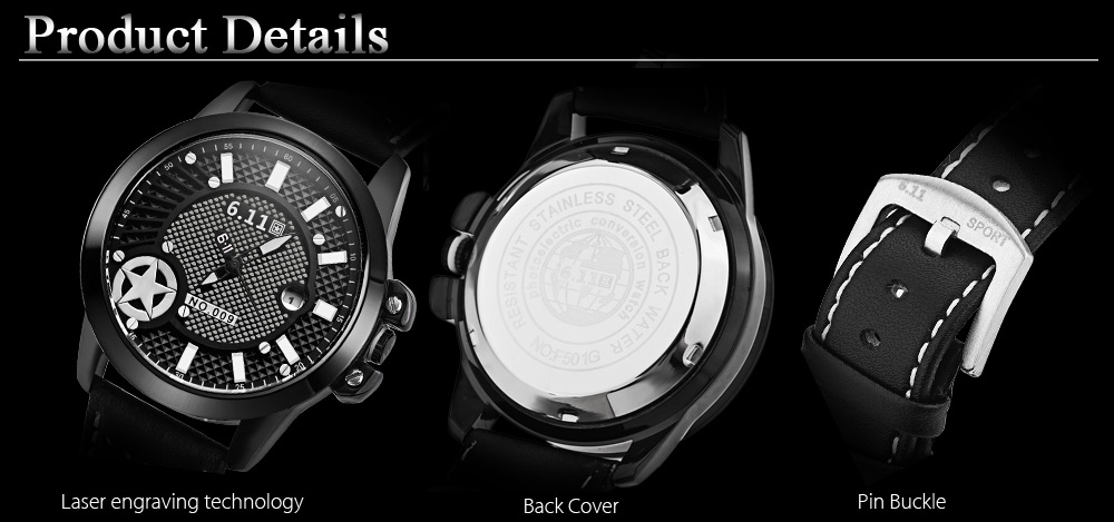 6.11 NO - 009 Male Photovoltaic Energy Quartz Watch Date Display Five-pointed Star Pattern Dial Wristwatch