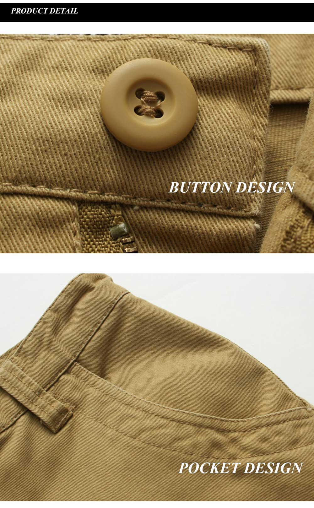 Casual Multi-Pocket Zipper Design Military Army Men Shorts