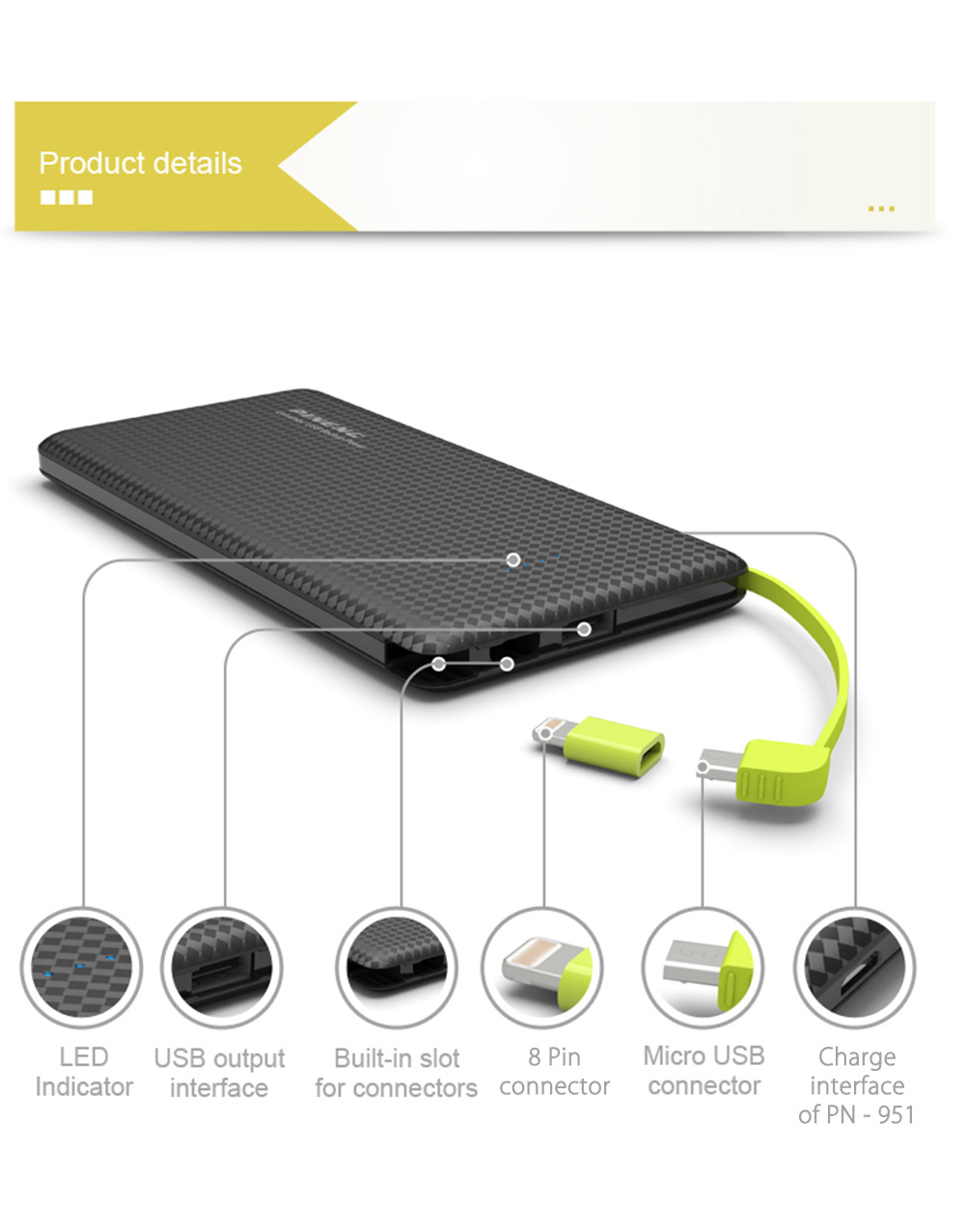 PINENG PN - 951 10000mAh Power Bank Dual Outputs Built-in Vibrating Switch Micro USB Cable Portable Charger