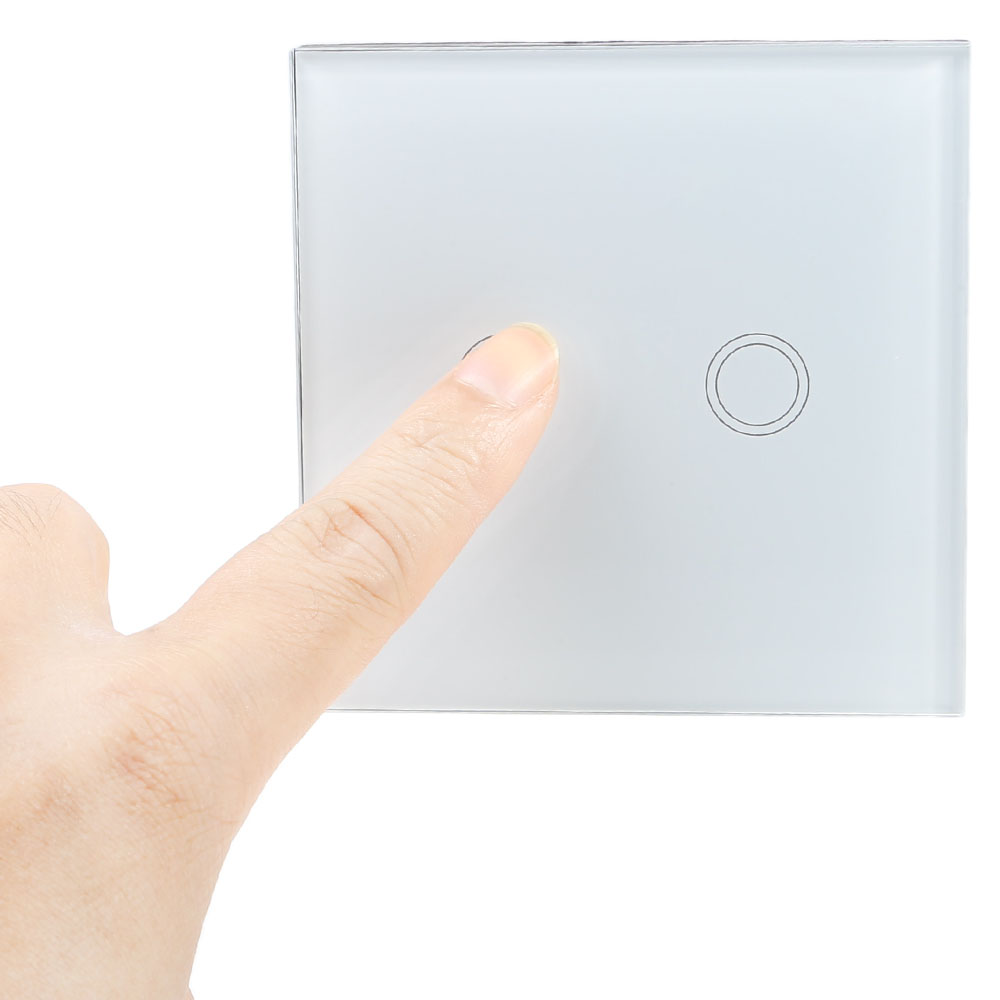 Smart Touch Switch 2 Gang 1-way Intelligent Controller Crystal Tempered Glass Panel with Remote Control