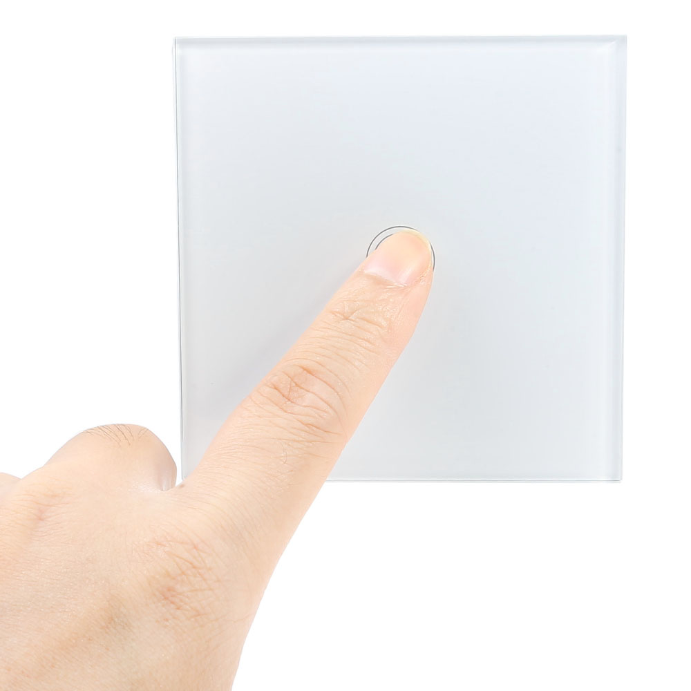 Smart Touch Switch 1 Gang 1-way Intelligent Controller Crystal Tempered Glass Panel with Remote Control