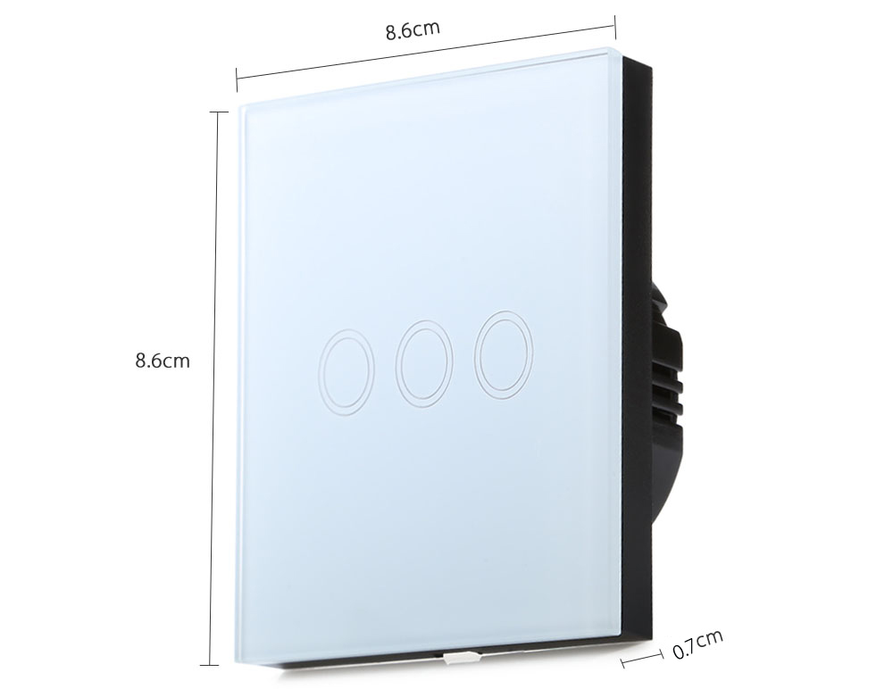 Smart Touch Switch 3 Gang 1-way Intelligent Controller Crystal Tempered Glass Panel with Remote Control