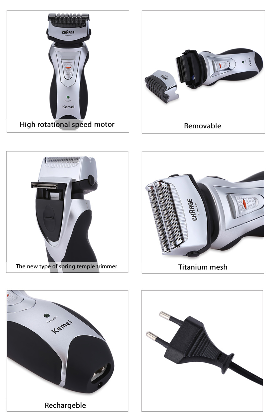 Kemei KM-8007 Rechargeable Cordless Electric Shavers Razor Facial Beard Use Groomer Trimmer for Men
