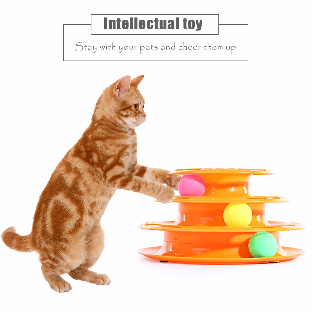 Pet Cat Three Layers Turntable Amusement Intelligence Ball Toy
