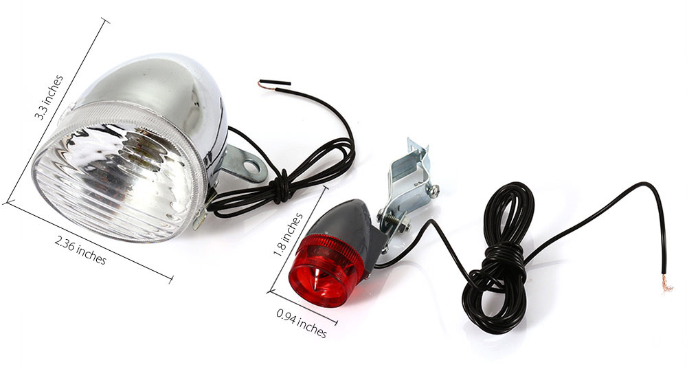 Bike Bicycle Safety Dynamo Light Rear Headlight Set No Batteries Needed