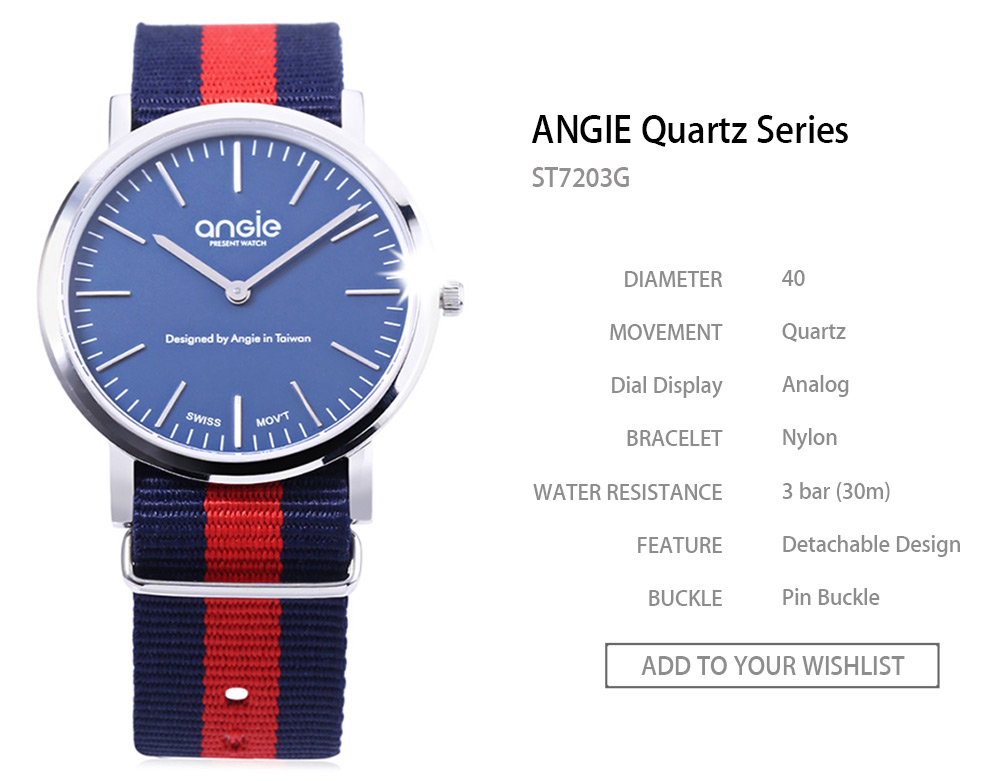 ANGIE ST7203G Male Quartz Watch Imported Movt Detachable Nylon Band 3ATM Wristwatch