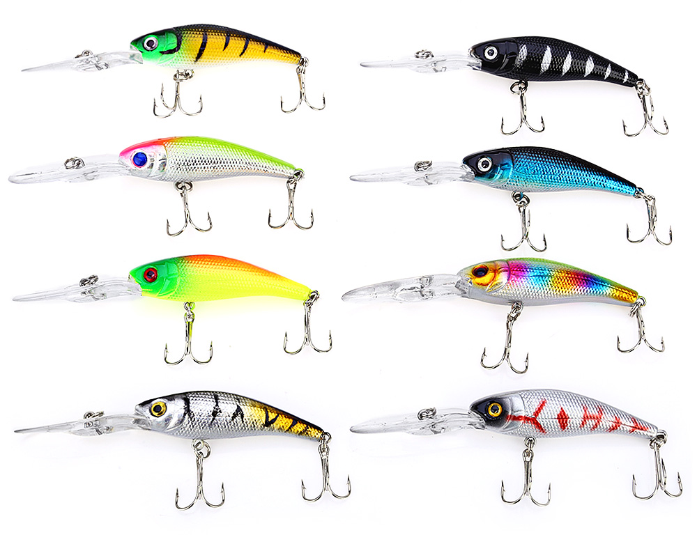 Proberos 40pcs Fishing Lure Bait with Hook Minnow Outdoor Equipment