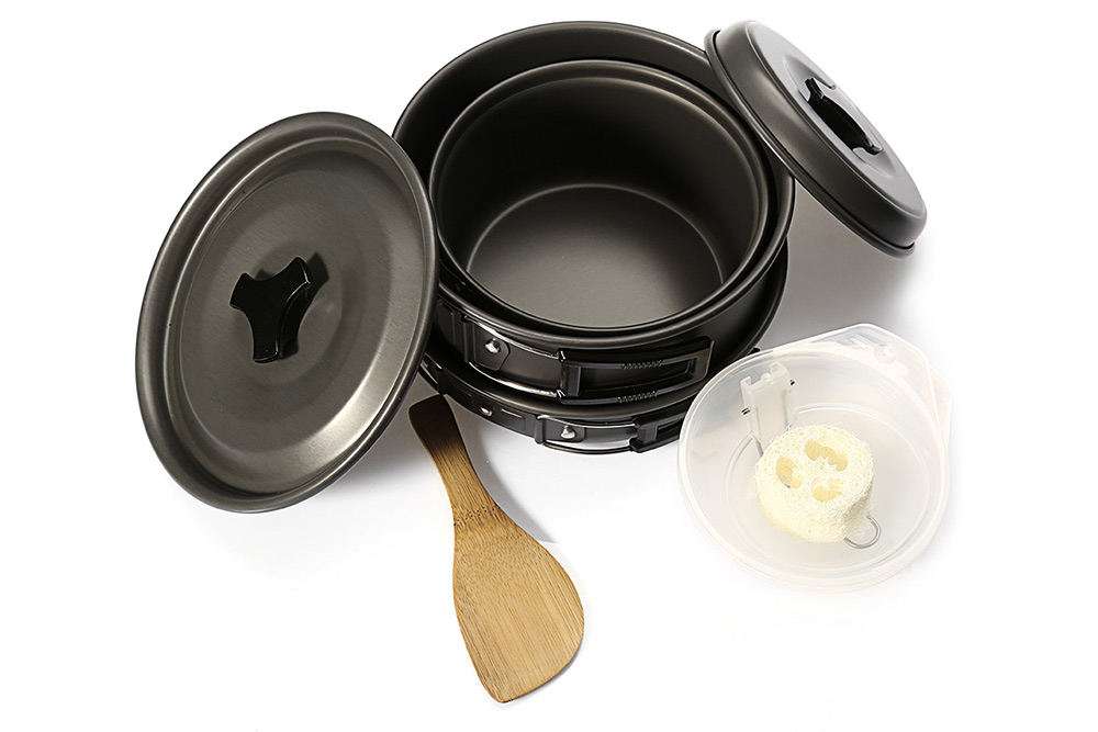 Outdoor Picnic Camping Aluminum Alloy Pots Cookware Set for 2 - 3 Person