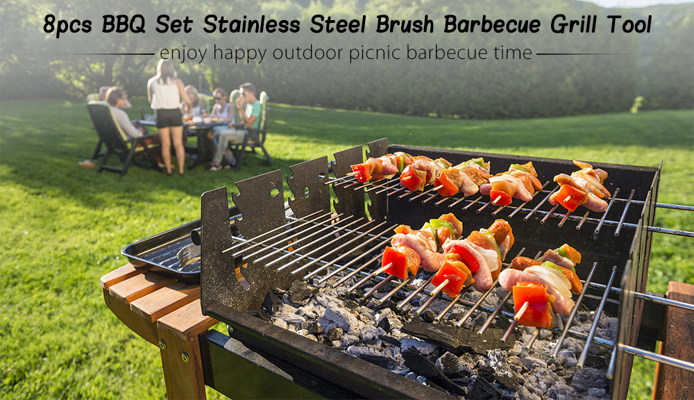 8pcs Stainless Steel BBQ Grill Set Accessory Tong Shovel Cooking Tool with Carrying Bag