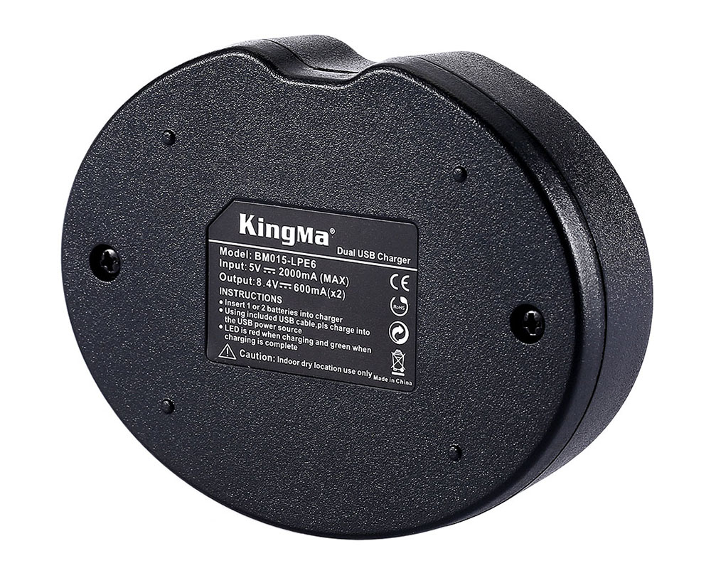 Kingma BM015 LPE6 Double USB Camera Battery Charger for Canon
