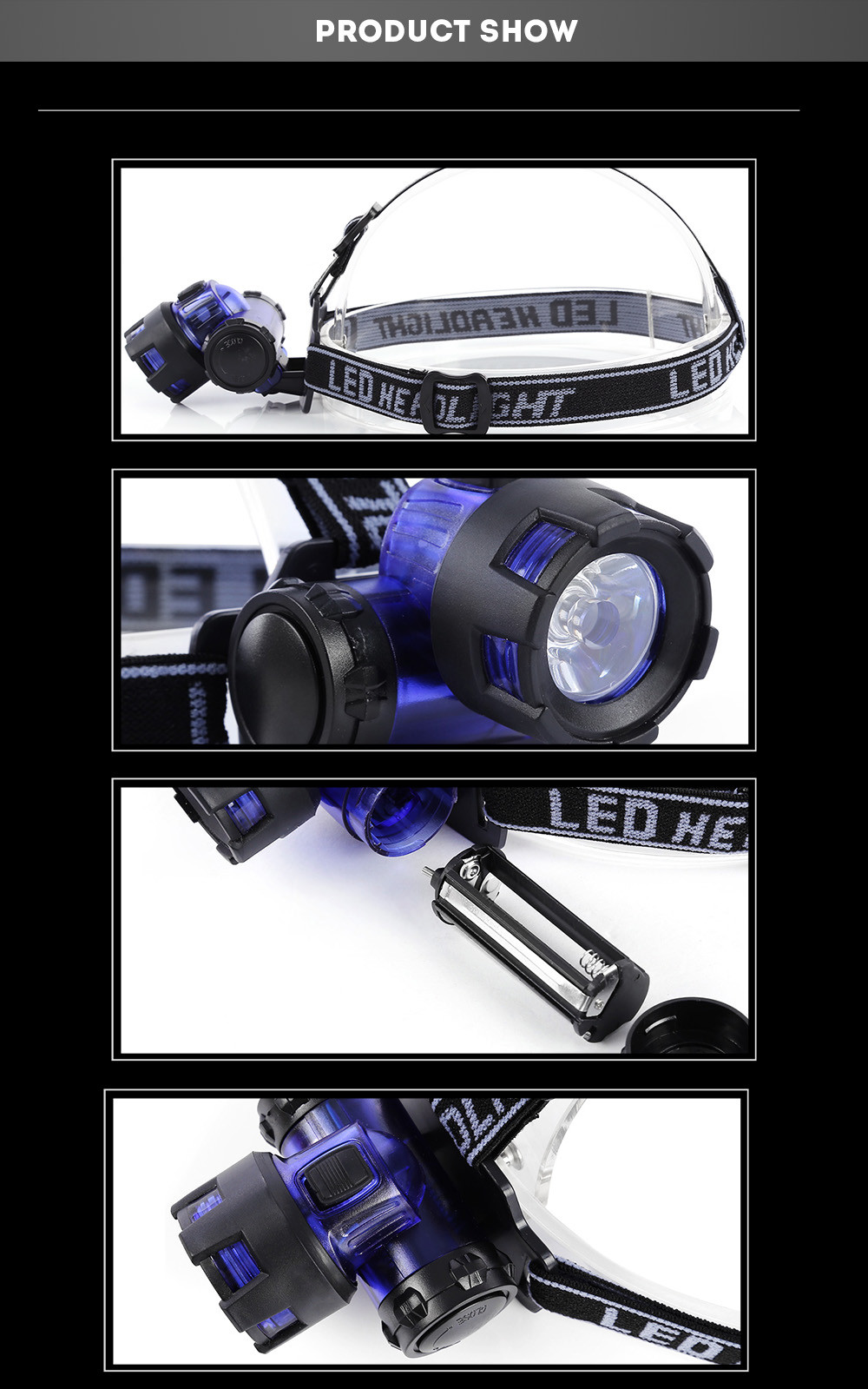 LEO Water Resistant Hiking LED Head Light Headlamp Flashlight for Camping Night Fishing