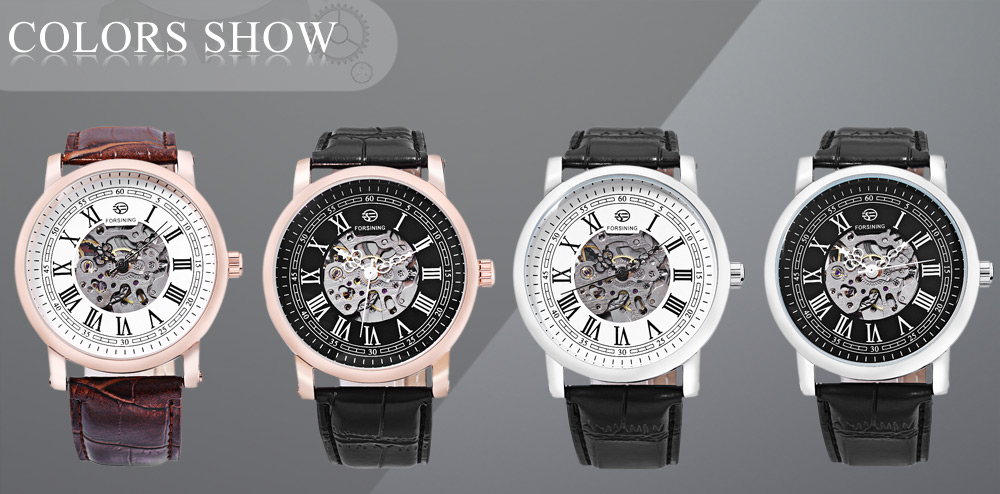 FORSINING TM142 Male Auto Mechanical Watch Transparent Hollow-out Dial Water Resistance Wristwatch