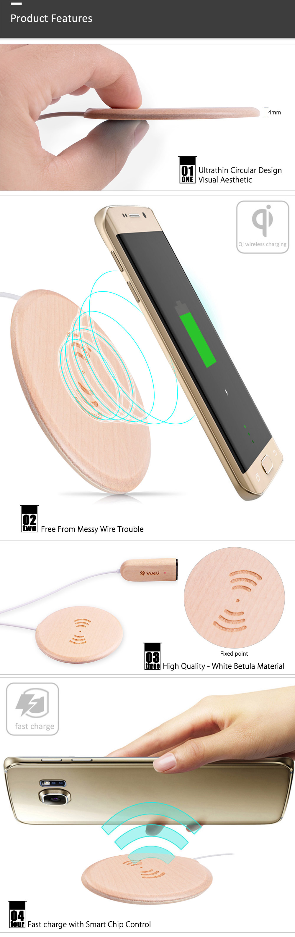 Vdeli QI - 007 Ultrathin Wooden Wireless Charger Charging Dock