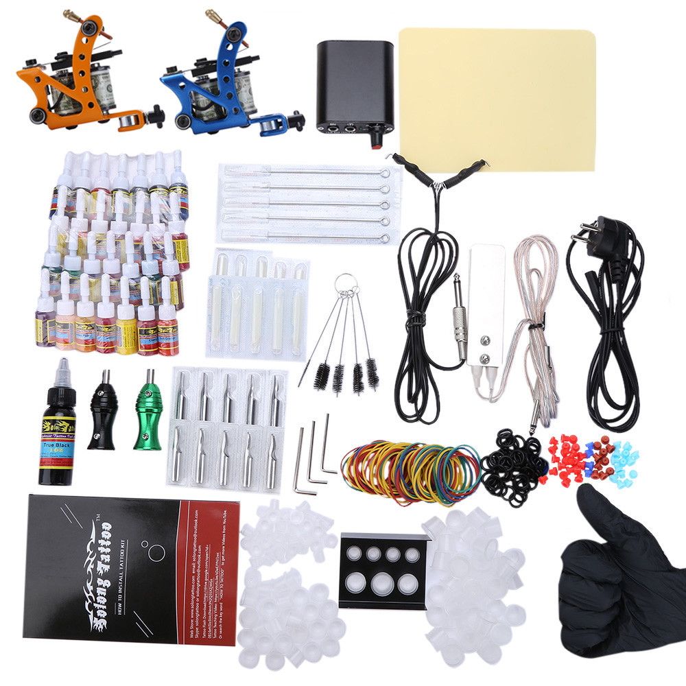 Solong Complete Tattoo Kit 2 Top Machine Guns 29 Color Inks Power Supply
