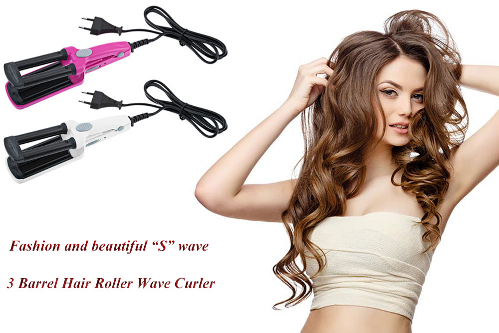 Styling 3 Barrel Hair Curl Iron Flat Ceramic Roller Wave Curler Tool