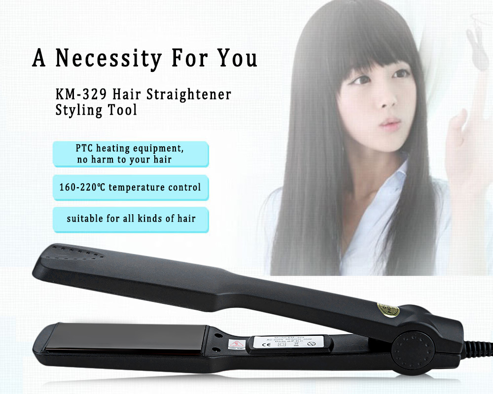 KM-329 Professional Hair Straightener Tourmaline Ceramic Heating Plate Styling Tools