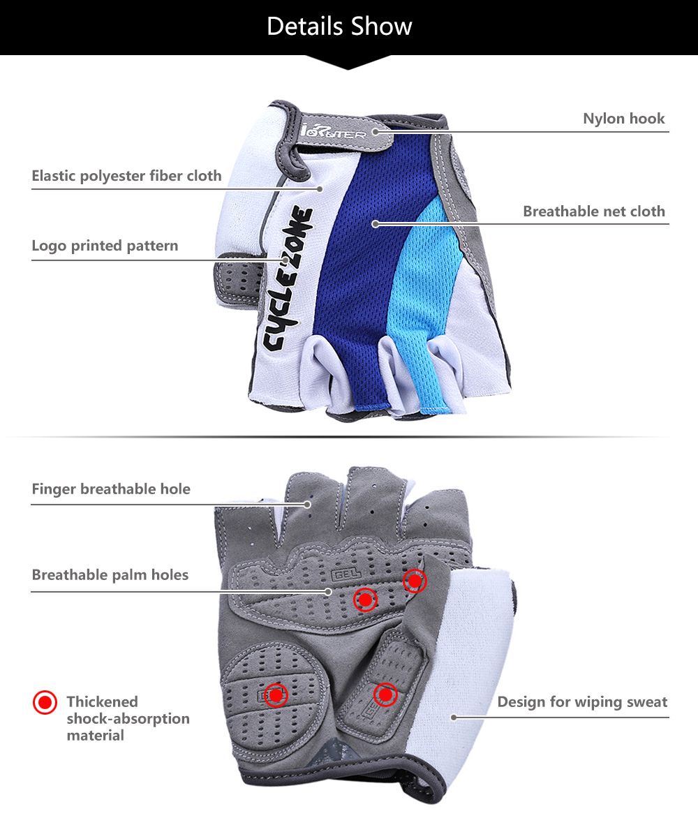 Cycle Zone Paired Shock-absorbing Foam Pad Half Finger Bike Gloves