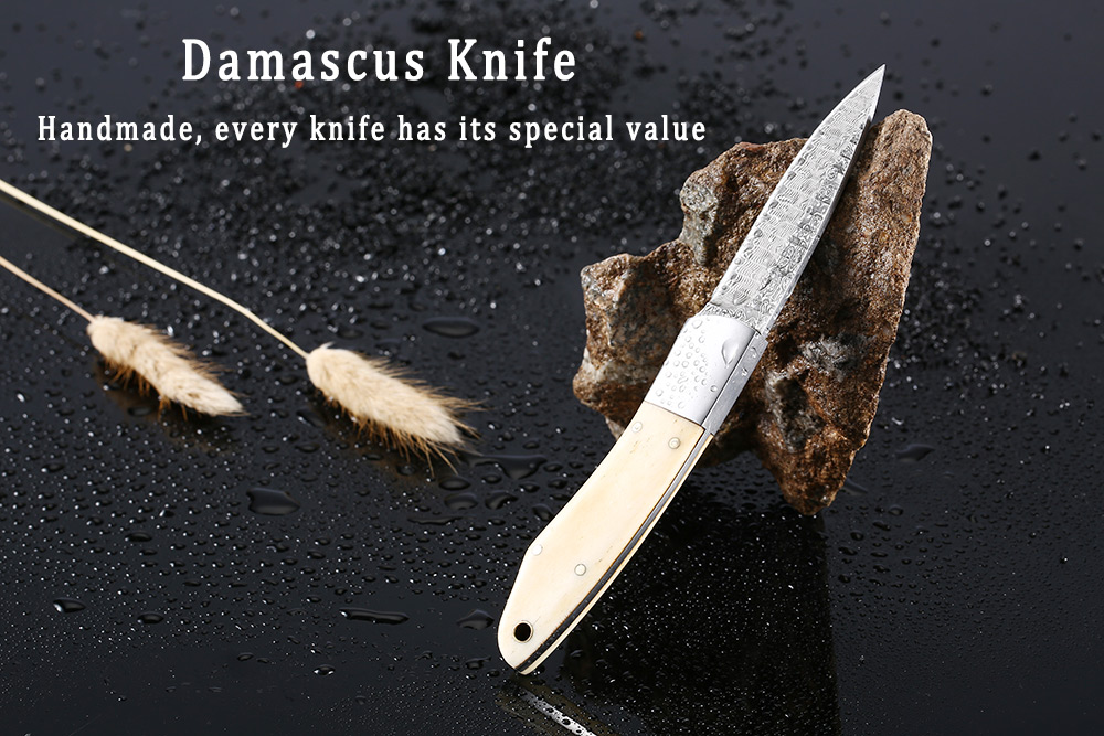 Damascus Steel Fixed Knife Cutter Leather Sheath