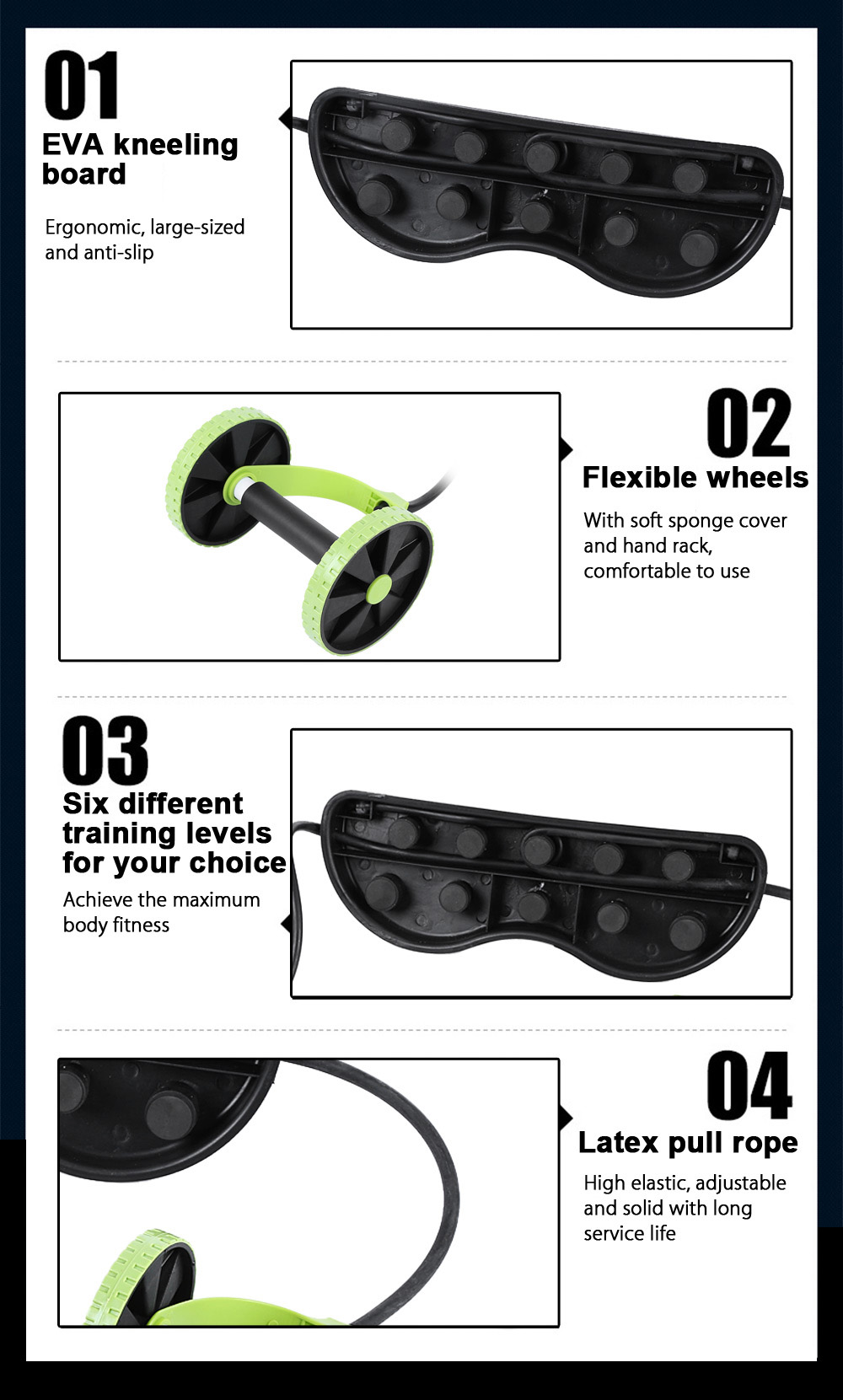Multifunctional Exercise Roller Wheel Latex Pull Rope ABS Trainer