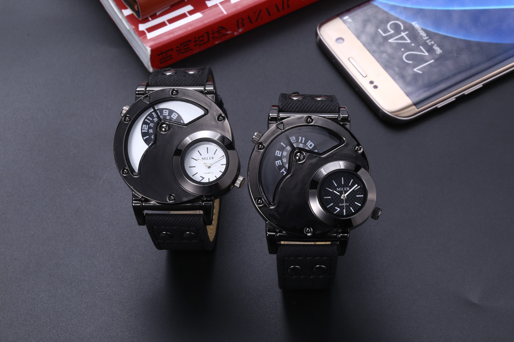 Miler A8305 Male Quartz Watch Punk Style PU Band Outdoor Sports Wristwatch
