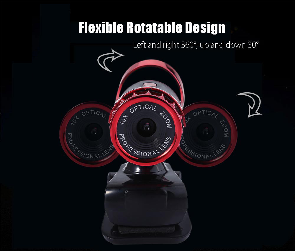 A859 USB 2.0 1.3 Megapixel HD Camera Webcam with MIC Clip-on 360 Degree
