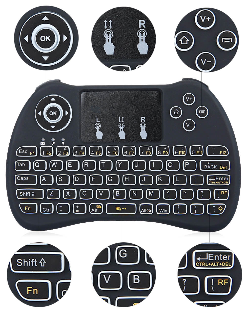 H9 Mini Hand-held Wireless QWERTY Keyboard Touchpad with Backlight