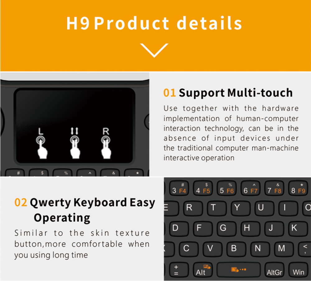 H9 Mini Hand-held Wireless QWERTY Keyboard Touchpad