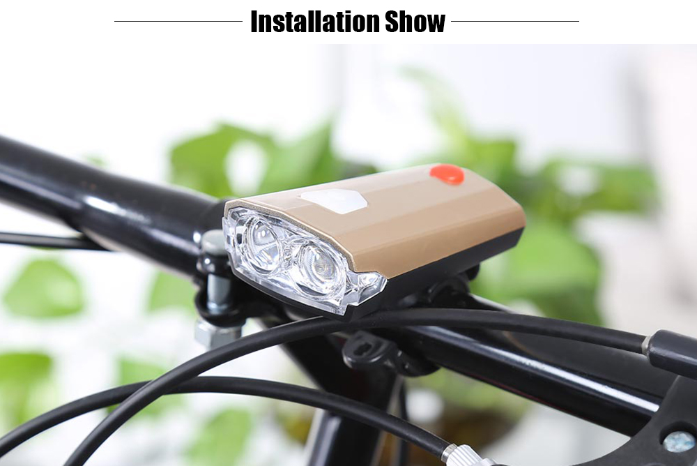 Portable Bicycle Front Light USB Rechargeable Lamp with Horn