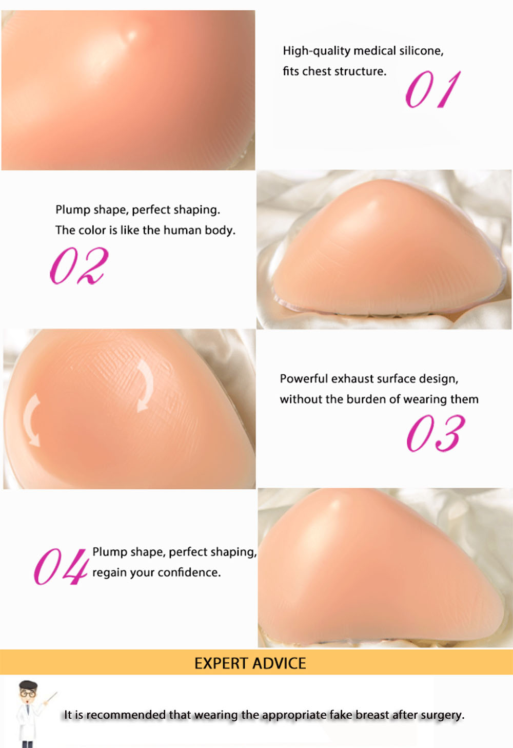 1pcs Left Helical Medical Silicone Implanted Breasts Fake Chest Postoperative Recovery Type