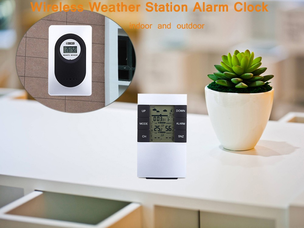 TS - H146 433MHz Wireless Weather Station Alarm Clock Indoor Outdoor Thermometer Hygrometer
