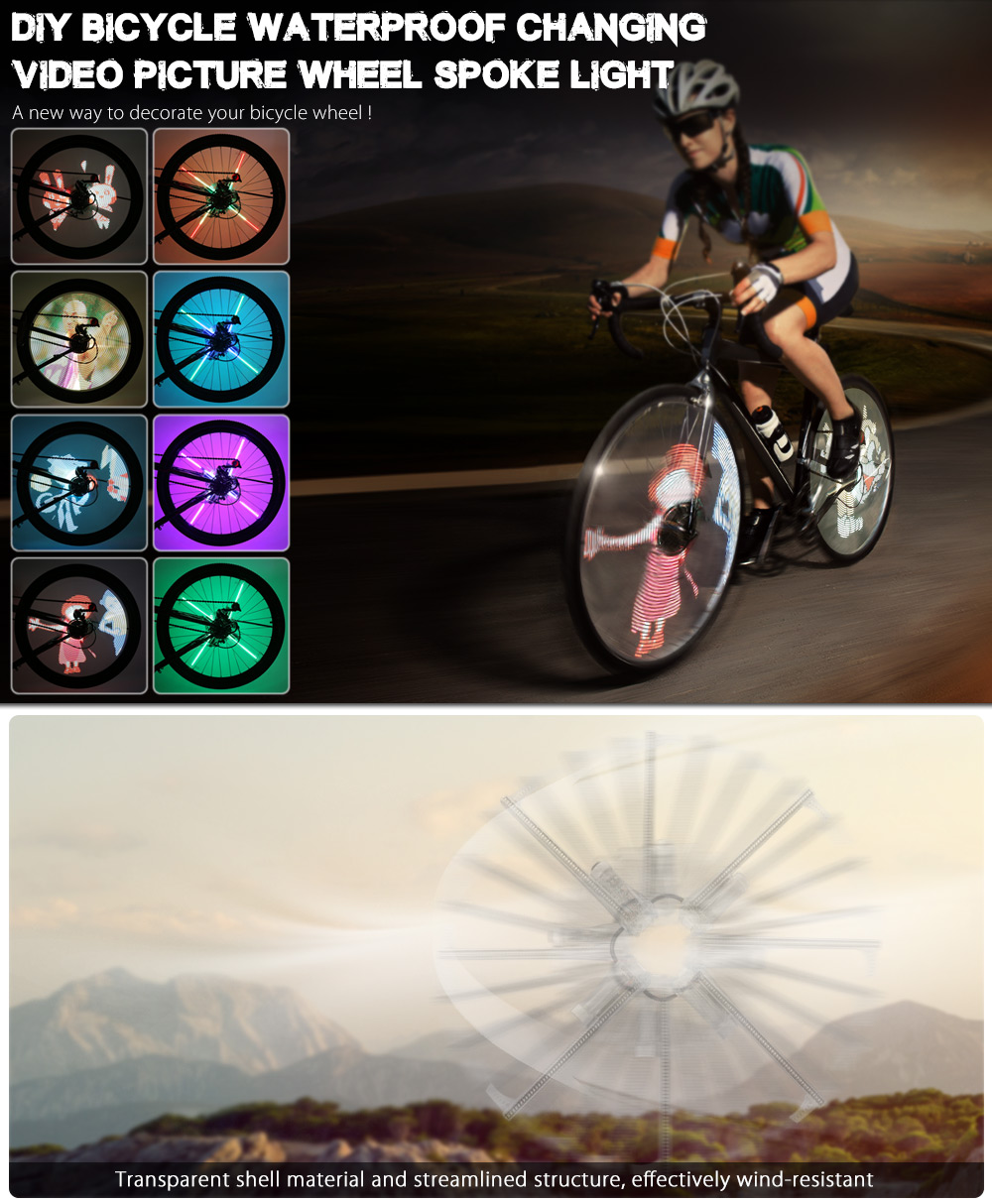 FT - 801 Pro DIY Cycling Bicycle 416 LEDs Waterproof Colorful Changing Video Gift Pictures Bike Wheel Spoke Light