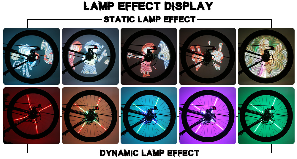FT - 801 DIY Cycling Bicycle 256 LEDs Waterproof Colorful Changing Video Gift Pictures Bike Wheel Spoke Lights