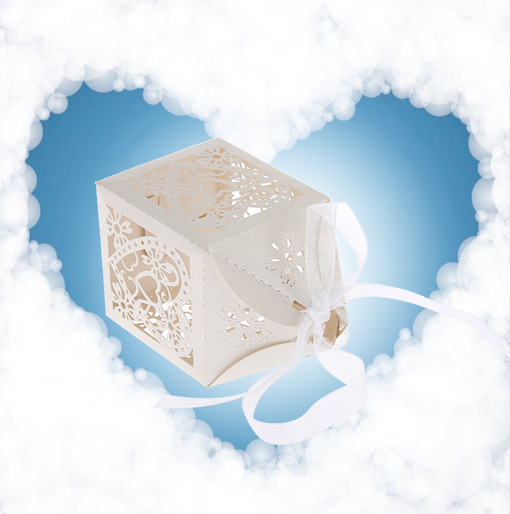 50pcs Love Heart Shape Candy Gift Boxes for Wedding Party