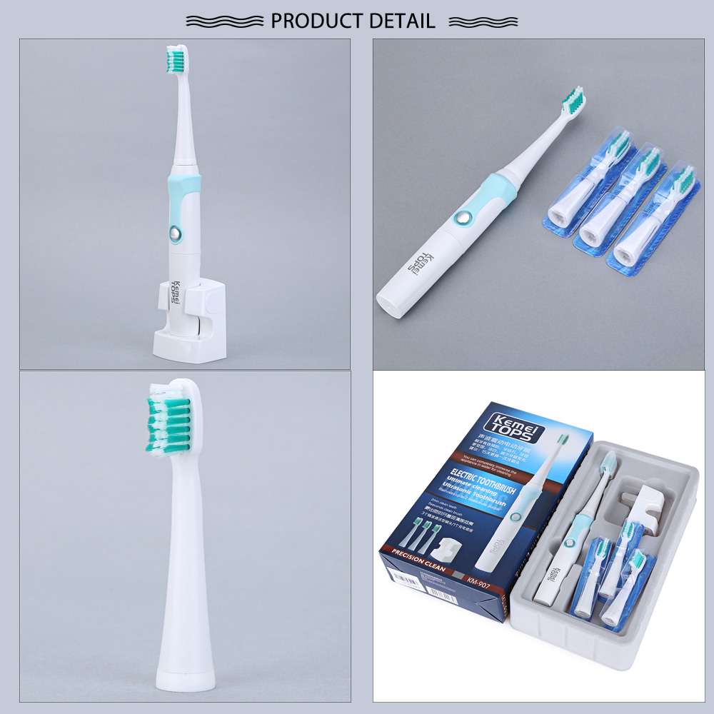 Kemei KM - 907 Waterproof Rechargeable Electric Toothbrush with 3 Heads Oral Hygiene Dental Care for Kids Adults
