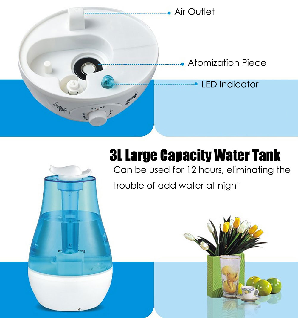 3L Mini Home Humidifier Air Purifier with LED Lamp