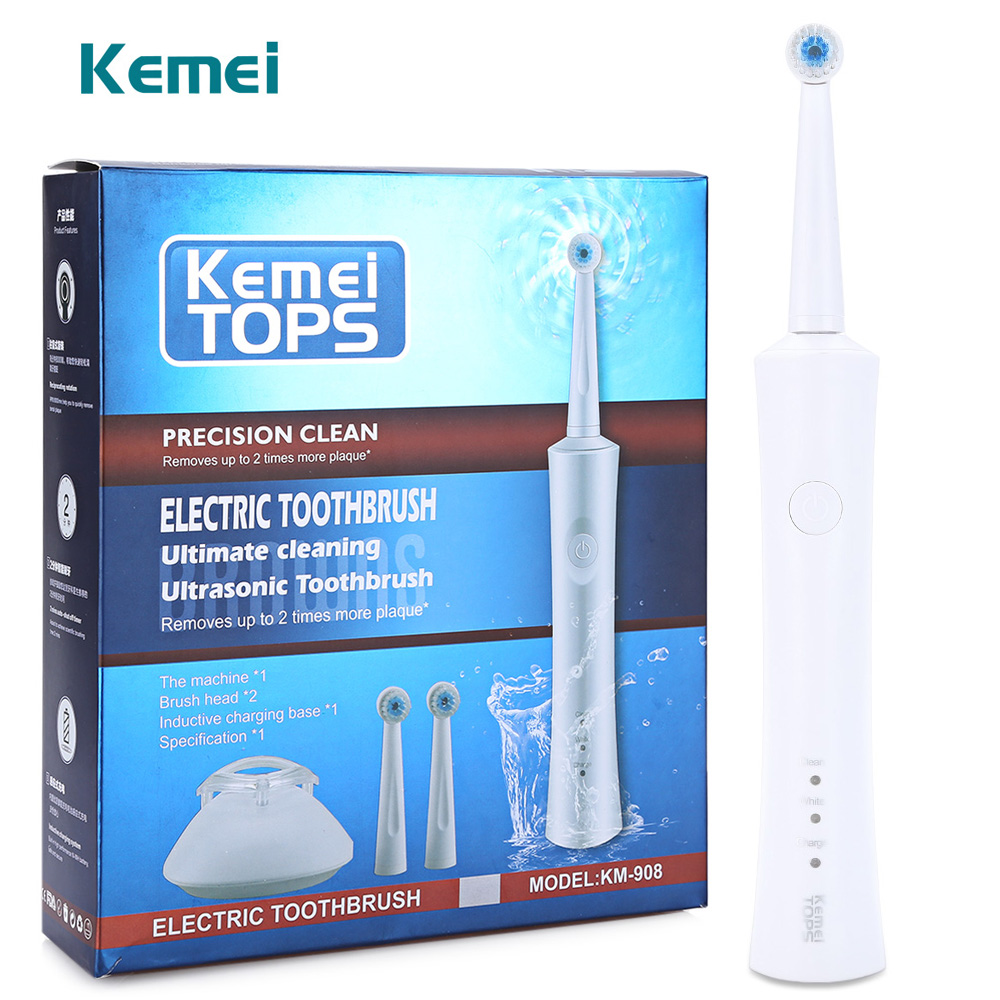Kemei KM - 908 Waterproof Rechargeable Electric Toothbrush with 2 Heads Oral Hygiene Dental Care for Kids Adults