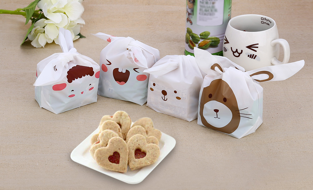 50pcs Rabbit Ears Shape Plastic Biscuit Chocolate Bag Gift Package