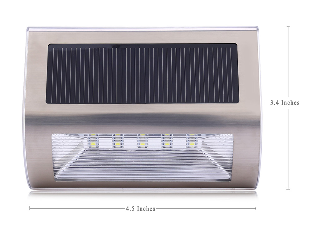 Solar Powered 5 LEDs Wall Light Stainless Steel Wireless Garden Lamp