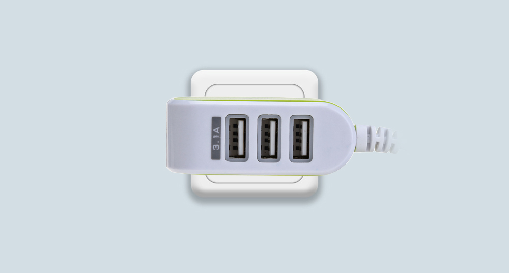 3 USB Port Coloured Multifunctional Travel Charger Adapter Micro USB Cable