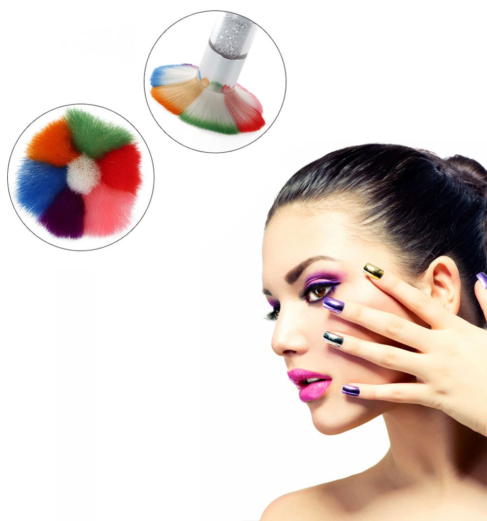 Colorful Acrylic Nail Dust Brushes Makeup Foundation Tool
