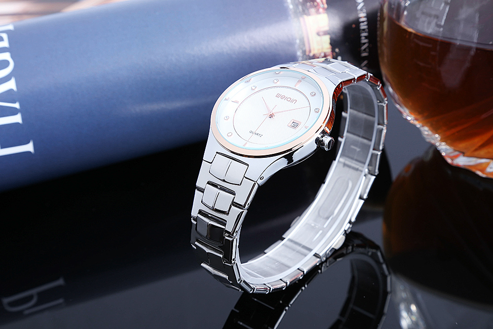 WEIQIN W00103BG Men Quartz Watch Artificial Diamond Dial Date Display 3ATM Wristwatch