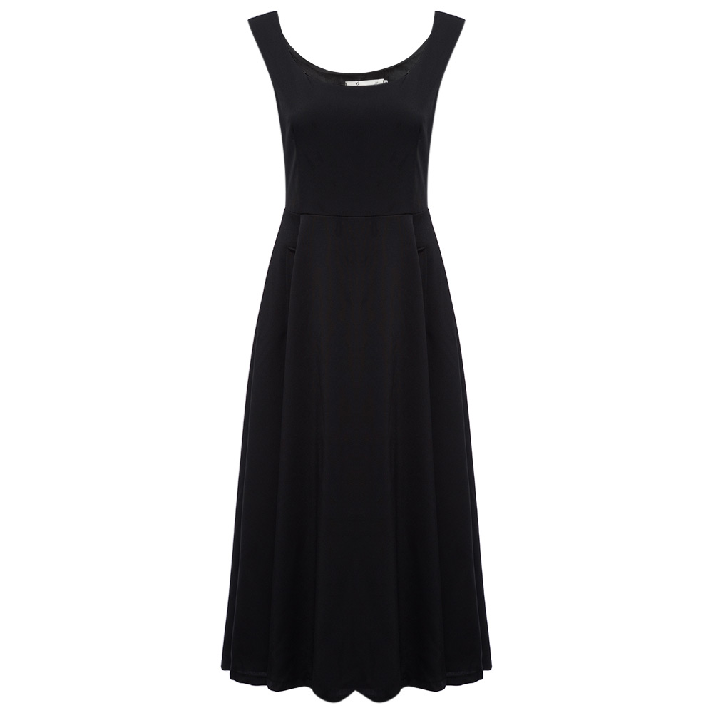 Elegant Scoop Neck Pocket A-line Slim Women Sundress
