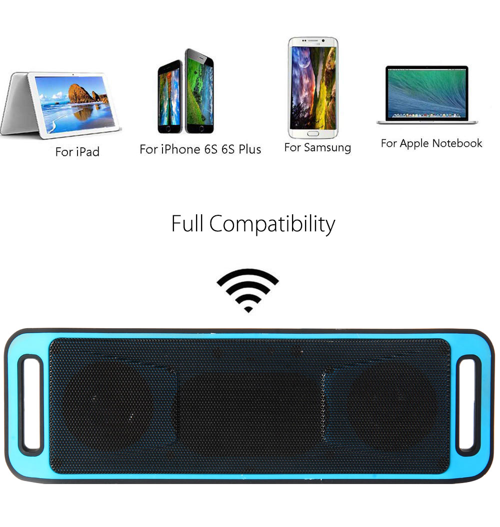 K812 Bluetooth V2.1 Stereo Speaker Support Handsfree FM Radio AUX USB TF Card Input