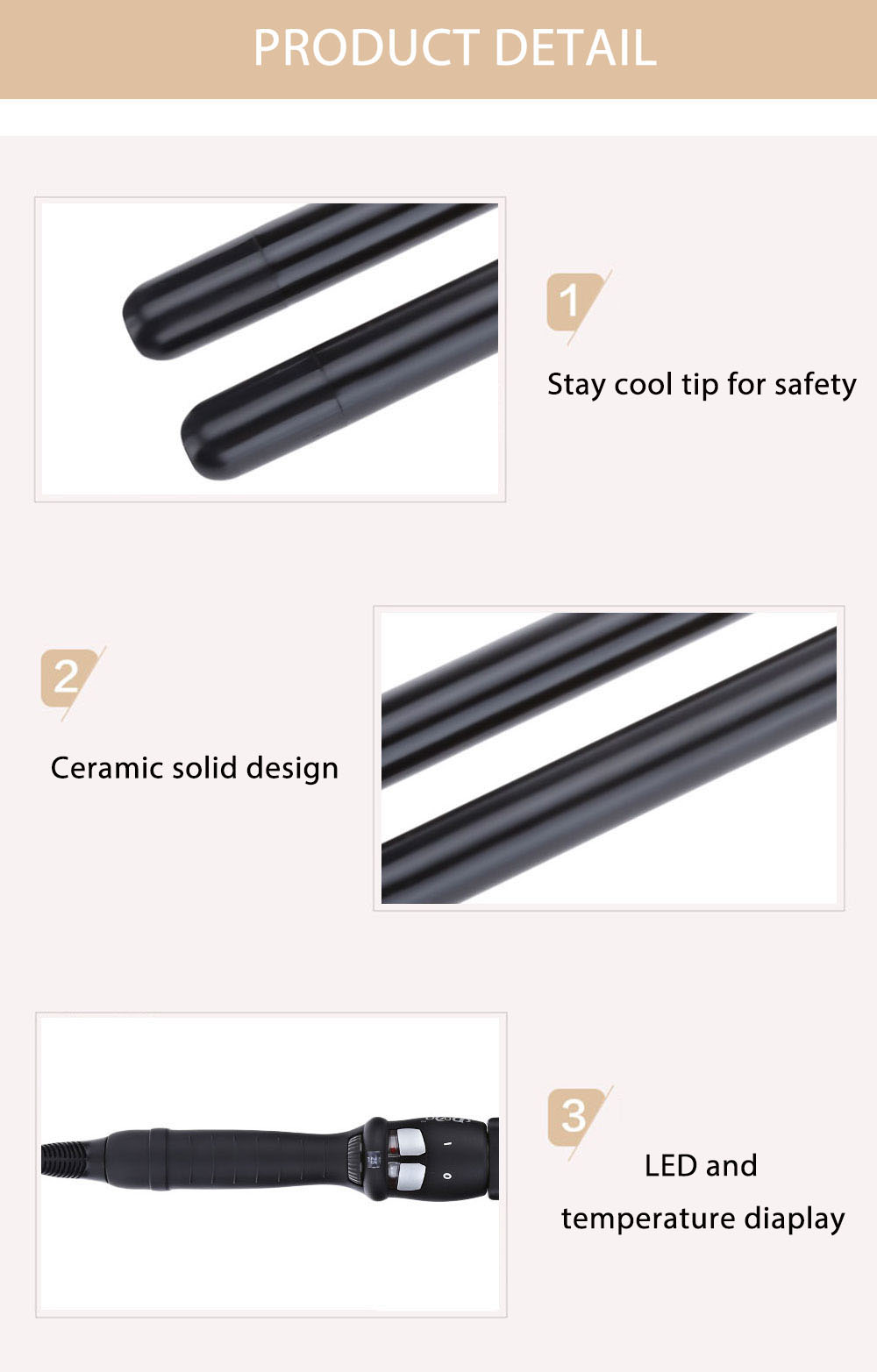 DODO L - 1313D Black Ceramic Fast Heating Hair Curling Iron Double Wand Roller