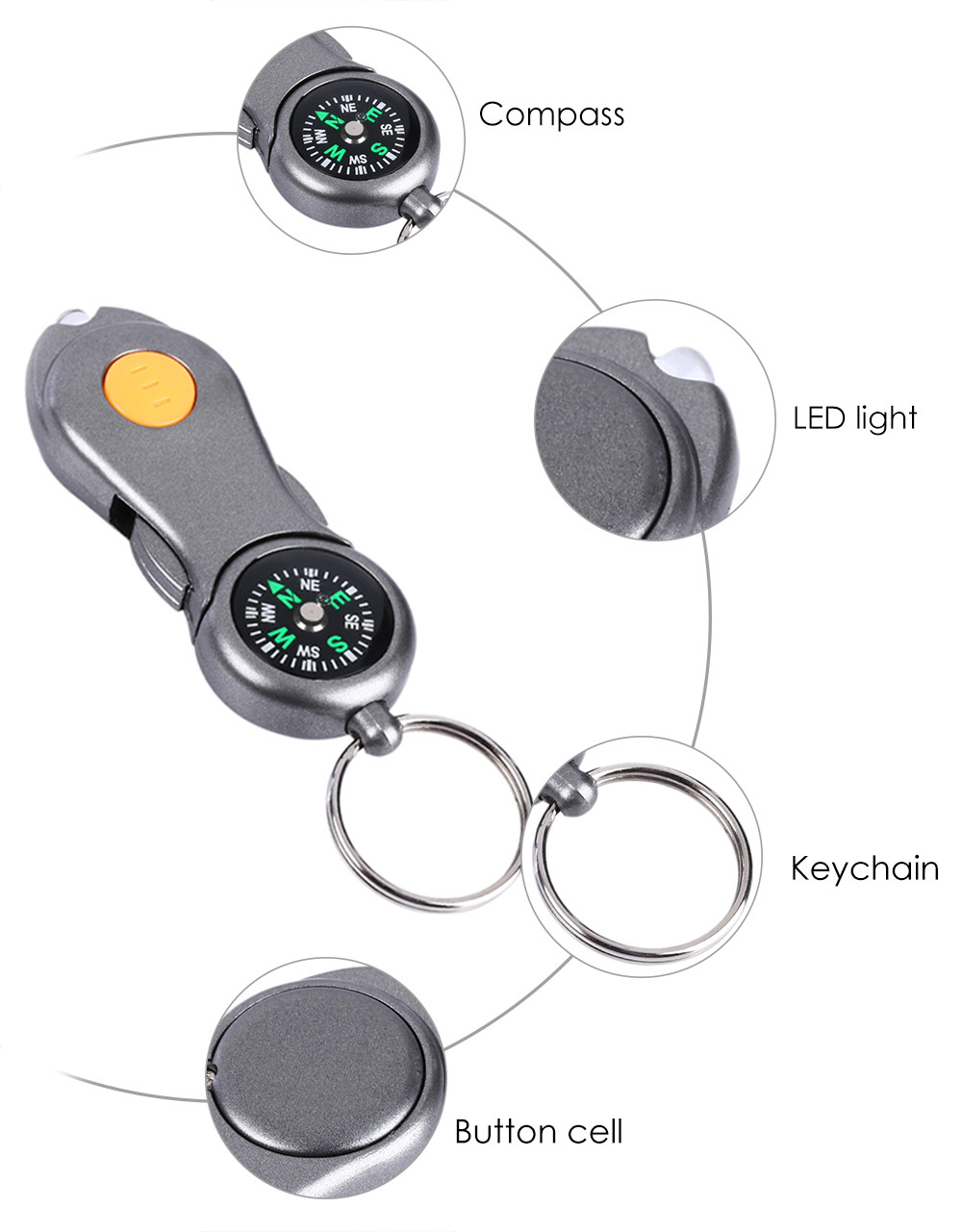 2 in 1 Multifunctional Tool Compass Keychain Keyring LED Light