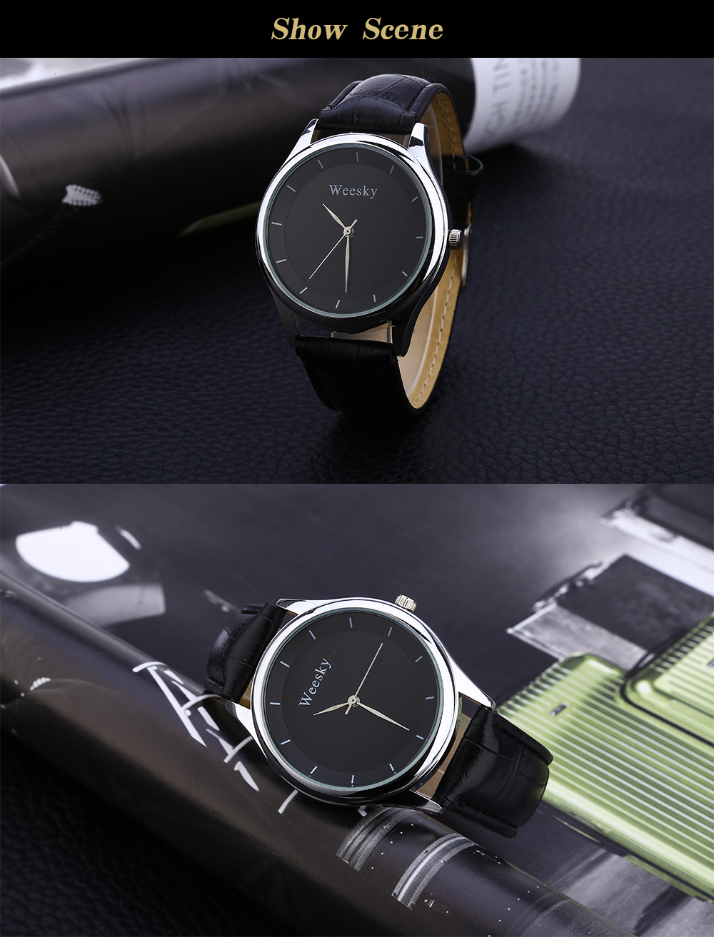 Weesky 1285 Male Quartz Watch Simple Dial Leather Band Wristwatch